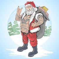 santa claus tatuado lleva una bolsa de regalo vector