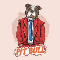 guapo bulldog con traje y corbata vector