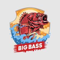 emblema de big bass de pargo rojo vector