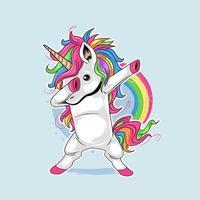 Dabbing unicorn with cute rainbow hair vector