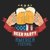American beer festival poster with hands toasting