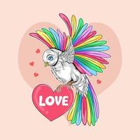 Bird with colorful wings carries love heart