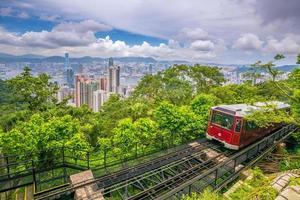 Victoria Peak tranvía y el horizonte de la ciudad de Hong Kong en China