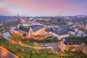 Skyline of old town Luxembourg  city from top view