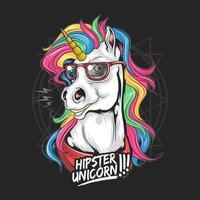 Rainbow-haired unicorn wearing glasses vector