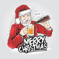 Party Santa Claus pouring drink into ug