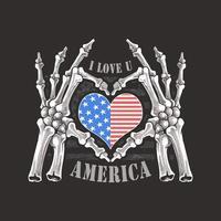 manos de esqueleto sosteniendo el corazón de la bandera americana vector