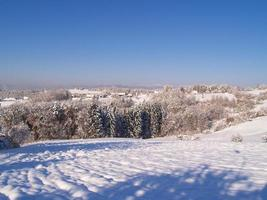 A hill and trees covered in snow with houses in the distance
