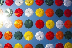 Low angle photo of umbrellas