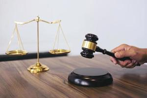 Close-up of a lawyer holding a gavel