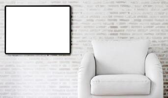 Picture frame mockup in a living room