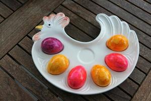 Colorful boiled eggs photo