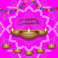 Background with Mandala Lantern for Happy Diwali Festival vector