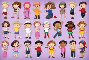 gran conjunto de niños realizando diferentes actividades.