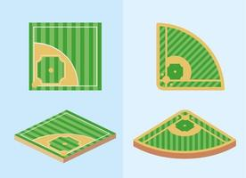 Set of baseball fields vector
