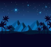 Desert mountains and palm trees at night