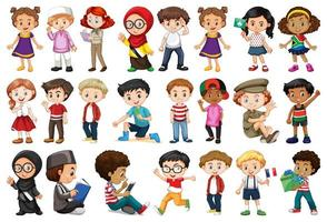 Large Set of Children Doing Different Activities vector