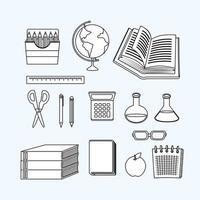 Back to school line-work icon set