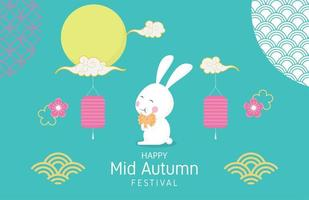 Mid autumn festival poster with happy rabbit and decoration vector