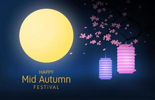 Mid autumn festival poster with lanterns in trees vector