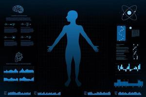 Futuristic human analysis abstract background vector