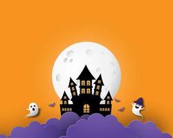 banner de halloween de arte de papel con castillo, luna y nubes vector