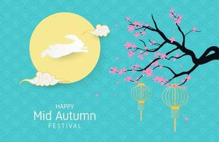 Mid autumn festival rabbit, moon, and cherry blossoms vector