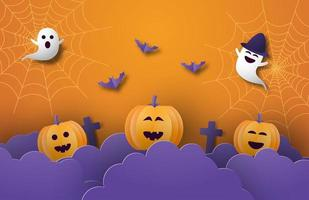 Paper art Halloween banner with pumpkins, ghosts and webs vector