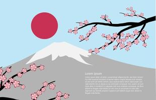 Fuji mountain with cherry blossoms and sun