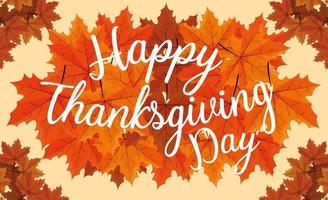 Happy thanksgiving day with leafs