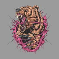 Fierce and wild angry grizzly bear design