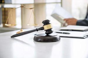Close-up of a gavel on a desk