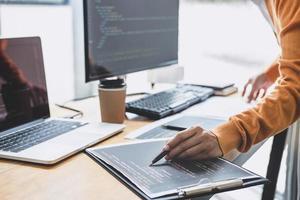 primer plano, de, un, programador, en el trabajo