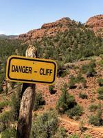 Danger sign in desert park