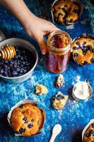 Fresh honey and blueberry muffins