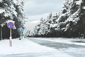 Wintry road signs