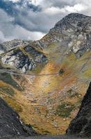 Sunlight on a mountain in autumn photo