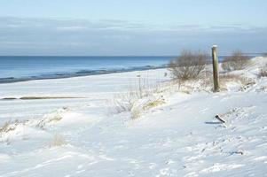 Wintry beach snow