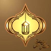 hermosa linterna árabe dorada sobre fondo dorado vector