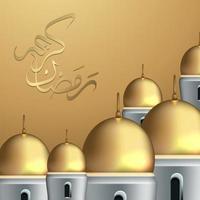 diseño de banner de ramadan kareem con mezquita de arco vector
