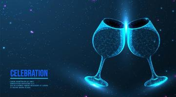 Clink glasses with wine after toast vector