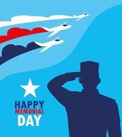 feliz dia memorial com militares e aviões vetor