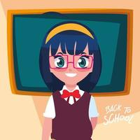 Cute little student girl in back to school poster vector