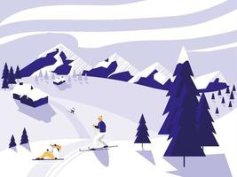 Ski camp snowscape scene vector