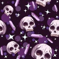Skulls, amethysts and stars seamless pattern vector