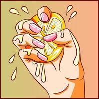 dibujo de un limón exprimido en la mano vector