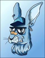 fresco conejo azul con sombrero, aretes y gafas de sol vector