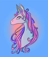 cabeza de unicornio brillante azul, rosa y morado