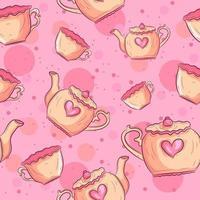Tea mugs and teapot seamless pattern