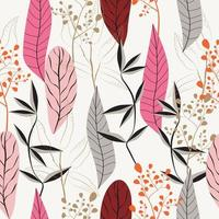 Nature pattern with beautiful leaves and flowers vector